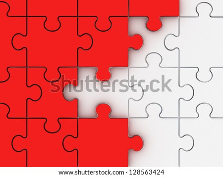 Incomplete concept, red jigsaw puzzle pieces. - stock photo