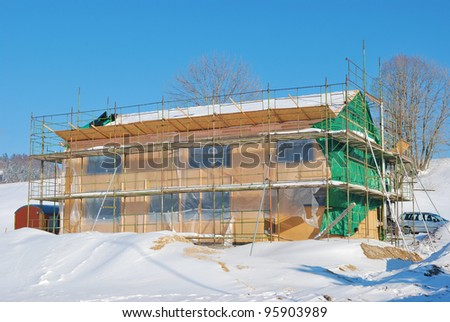 Incomplete house, still under construction - stock photo