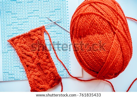 Incomplete Knitting Project Circular Knitting Needles Stock Photo
