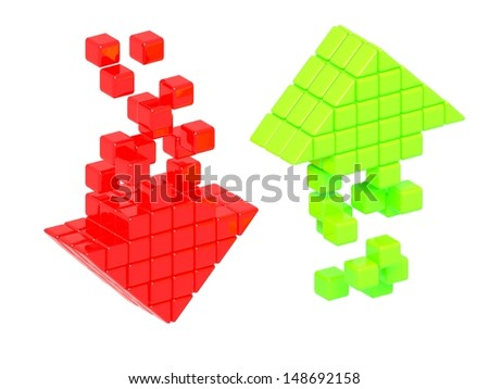 Increase and decrease glossy arrow icon emblems - stock photo