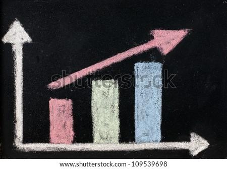 Increase arrow up on blackboard - stock photo