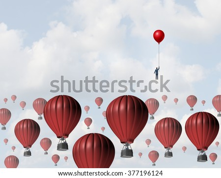 Increase efficiency and improve performance business concept as a businessman holding a balloon leading the race to the top against a group of slow hot air balloons using a low cost winning strategy. - stock photo