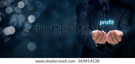 Increase profit concept. Businessman give you solution to increase your profit. - stock photo