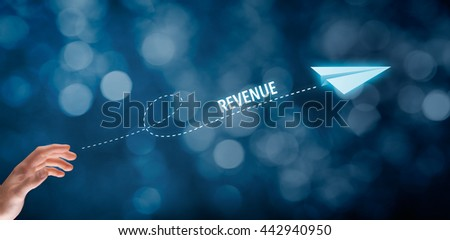 Increase revenue concept. Businessman throw a paper plane symbolizing growing revenue.