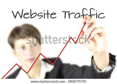Increase web traffic word cloud concept. Web Traffic - business woman with growth graph- website performance. an arrow rising upward symbolizing growth and improvement of web traffic. - stock photo