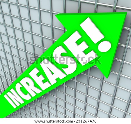 Increase word in 3d letters on a green arrow rising upward to illustrate improvement, more or better results, income or earnings - stock photo