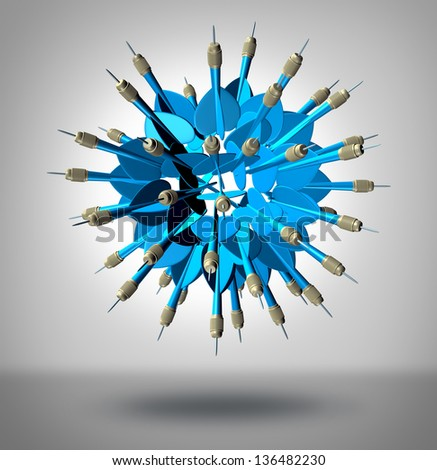 Increase your odds and improve chances of success as a business concept with a group of three dimensional blue darts shaped as a sphere pointing in all directions as an insurance to hit the target. - stock photo