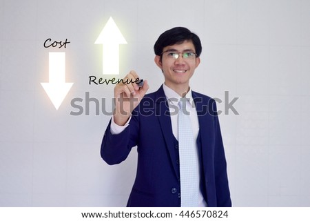 Increased revenue and reduced cost concept presented by  businessman touching on  virtual  screen -image element furnished by NASA- SOFT SILVER TONE