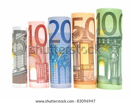 Increasing denominations of rolled Euro notes against a white background