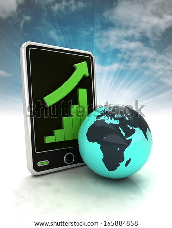 increasing graph stats of African countries on phone display with sky illustration - stock photo