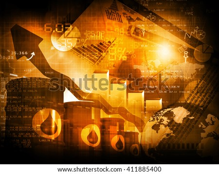 Increasing oil price , high price of oil, growing arrow graph  - stock photo