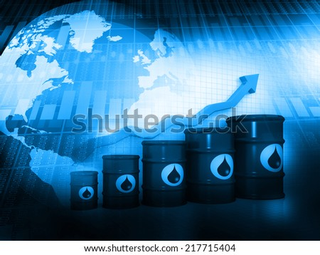 Increasing oil price, oil barrels with arrow graph  - stock photo