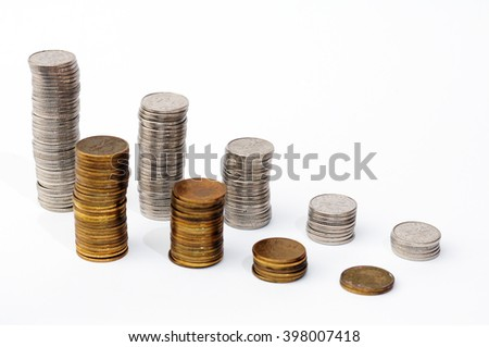 Increasing piles of coins, financial growth, home budget planning - Save money - for growing business - currency, work, job, stock market, finance, graph, background - stock photo
