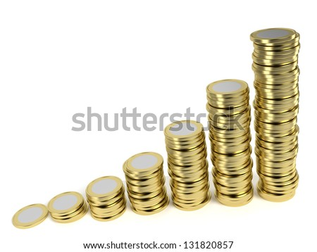 Increasing piles of coins on white background symbolizing a remunerative investment, growing wealth, price inflation etc. Computer generated image with clipping path.