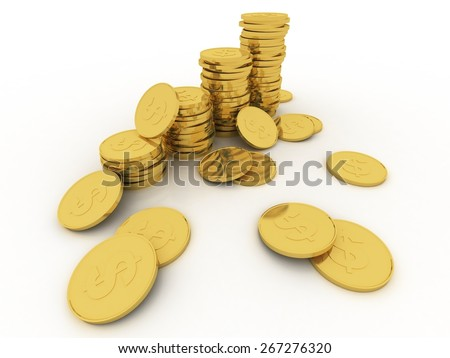 Increasing piles of gold coins. 3D render including a clipping path - stock photo