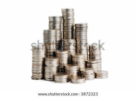 Increasing pyramid of small coins on a white background