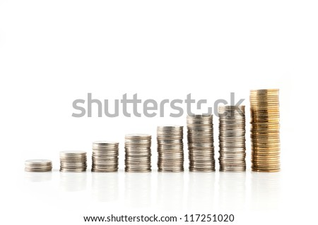 increasing Silver and gold Thai baht coins charts isolated on white background - stock photo