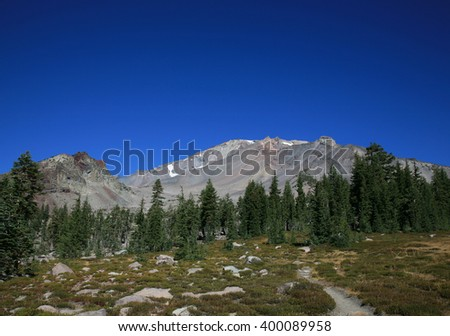 Incredible blue sky over Mount Shasta, CA, Panther Meadow in the foreground.  - stock photo