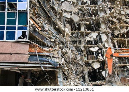 incredible building demolition project - part of series - stock photo