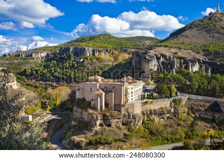 incredible  Cuenca - view of Parador. Spain - stock photo