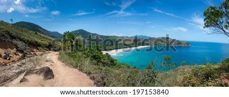 Incredible Huge Panoramic View of Bonete Beach at Ilhabela Sao Paulo island.  Tropical Paradise, South America. - stock photo