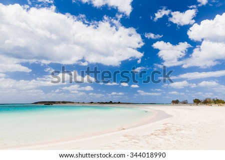 Incredible morning after a camping next to the sea in Elafonisi island. - stock photo