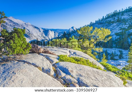 Incredible Mountain Rock Formations In the World Famous Yosemite National Park in California, United States. Horizontal Shot. HDR Image