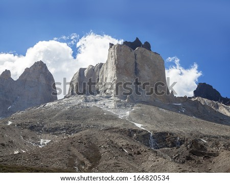 Incredible rock formation of Los Cuernos (The Horns) in National Park Torres del Paine, Chile. - stock photo
