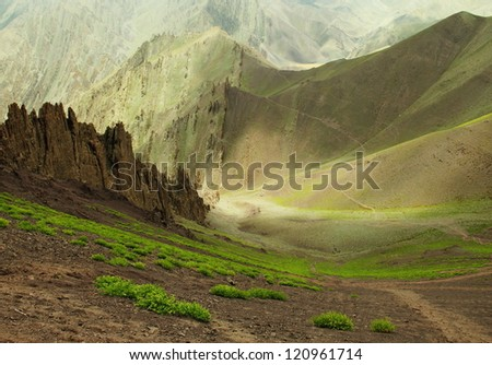 Incredible scenic view of high mountain path in Ladakh range, Leh district, Jammu & Kashmir, Northern India - stock photo