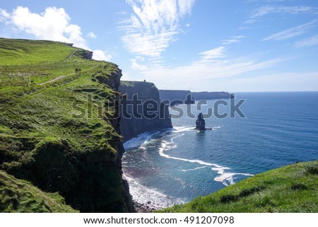 Incredible sunny in Cliff the Moher in Ireland
