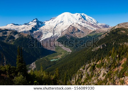 Incredible view in Mt Rainier National Park in Washington, USA - stock photo