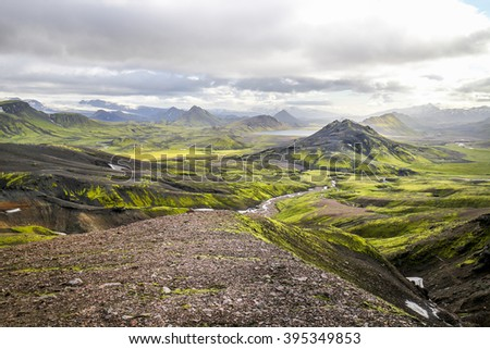 Incredible wild landscape of green mountains in Iceland