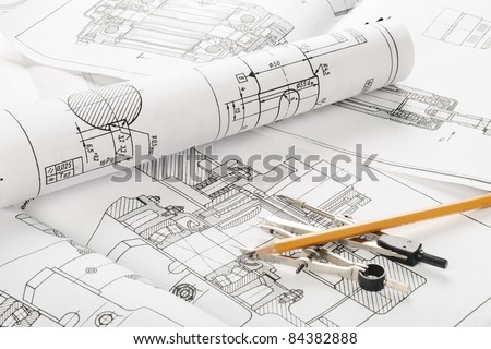 indastrial drawing detail and several drawing   tools - stock photo