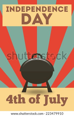 Independence Day American  Poster in Retro Style with BBQ. Fourth of July. Illustration.