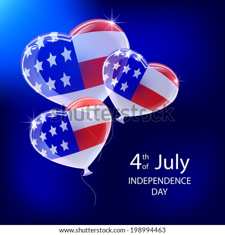 Independence day blue background and balloons with American flag, illustration.