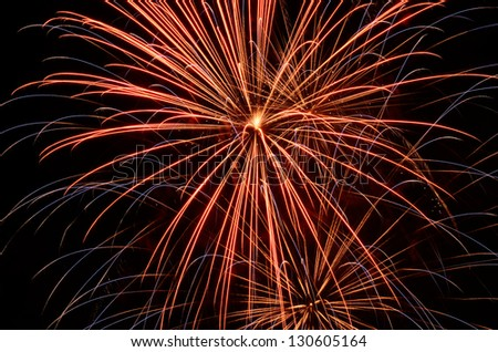 Independence day fireworks against a clear sky July 4th celebration in Oregon
