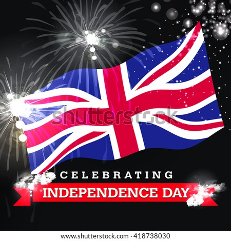 Independence Day fireworks and the United Kingdom flag. concept