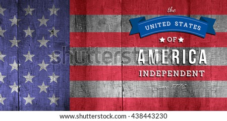 Independence day graphic against weathered oak floor boards background