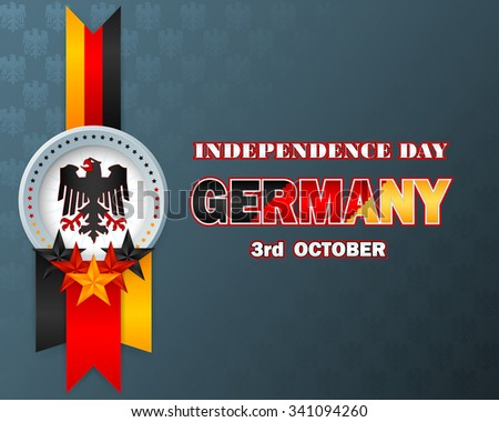 Independence day layout template with coat of arms, black, red and gold colors of German national flag on German eagle pattern background for Third of October, Germany Independence Day - stock photo