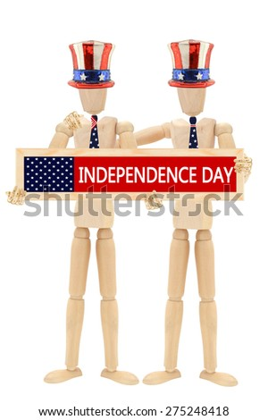 Independence Day Mannequins wearing patriotic hat, tie Arm on Shoulder isolated on white background  - stock photo
