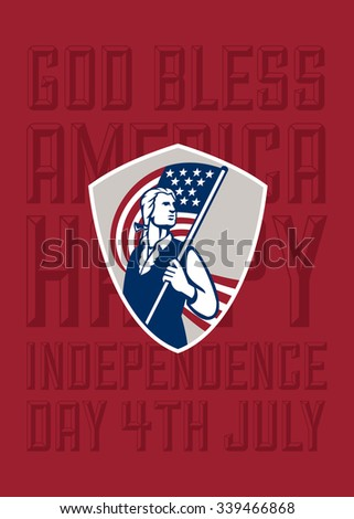 Independence Day or 4th of July greeting card featuring an illustration of an American Patriot holding a USA stars and stripes flag set  words God Bless America, Happy Independence Day, 4th July - stock photo