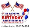 Independence Day stickers with flags and balloons. Raster version. - stock photo