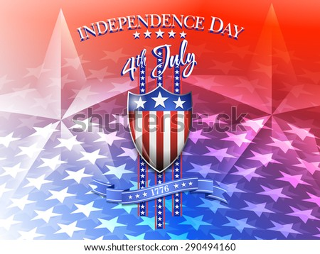 Independence Day 4th July Background - American Flag on Shield 4th July Celebration Background - Raster Version - stock photo