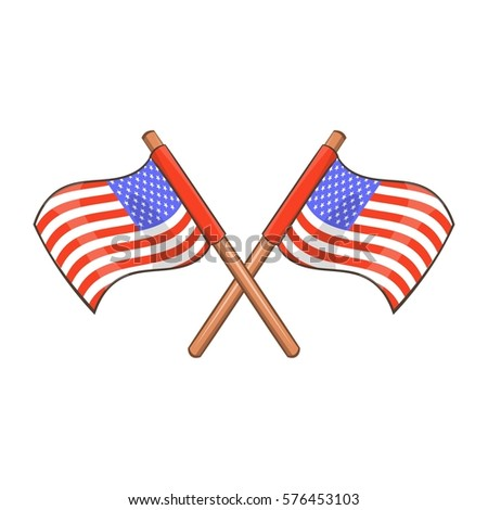 Independence day usa flags icon. Cartoon illustration of independence day usa flags  icon for web design