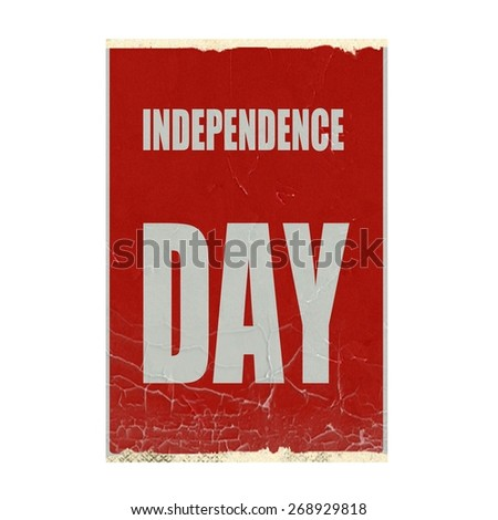 Independence day white stamp text on red background - stock photo
