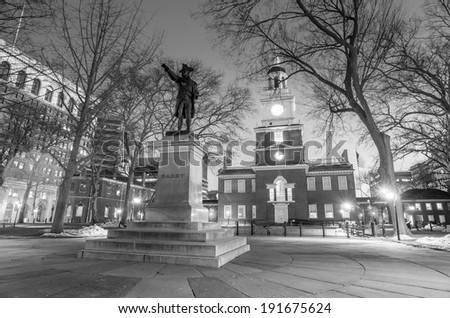 Independence Hall National Historic Park Philadelphia at twilight in black and white - stock photo