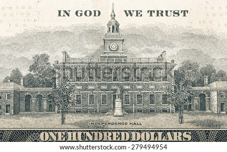 Independence hall on a dollar bill. Toned.