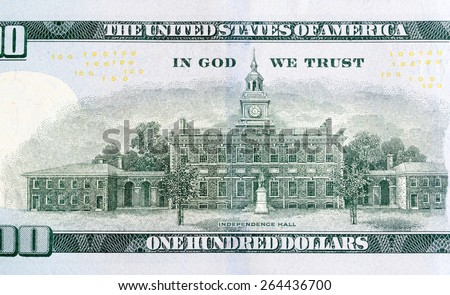 Independence Hall on a new edition hundred dollar bill. - stock photo