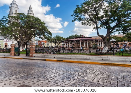 Independence Plaza, Campeche, Mexico with cathedral on the opposite side of the square - stock photo