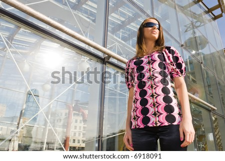 Independent city woman. Wide angle view. - stock photo